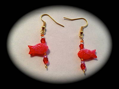 Jewelry - Cute Red Fishes Earrings by Pretchill Smith