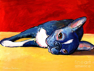 Svetlana Novikova Art Painting - Cute Sleepy Boston Terrier Dog Painting Print by Svetlana Novikova