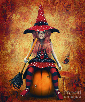 Digital Art - Cutest Little Witch by Jutta Maria Pusl