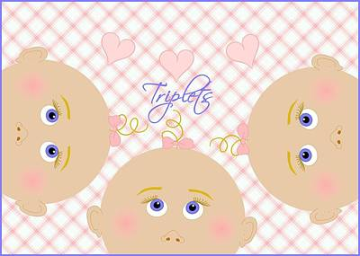 Cutie-pie Triplet Girls With Hearts And Bows Original by Cindy Johns