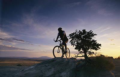 Cyclist At Sunset, Northern Arizona Art Print
