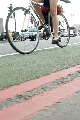 Cyclist In A Cycle Lane Art Print