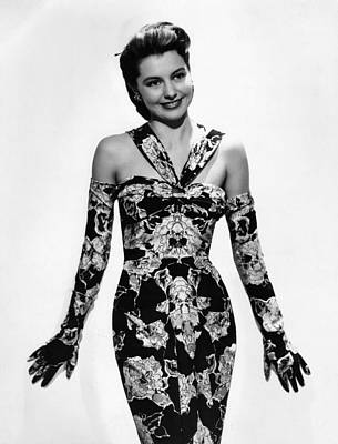 Cyd Charisse Modeling Flowered Evening Art Print by Everett