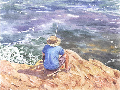 Painting - Cyprus Fisherman by Maureen Carter