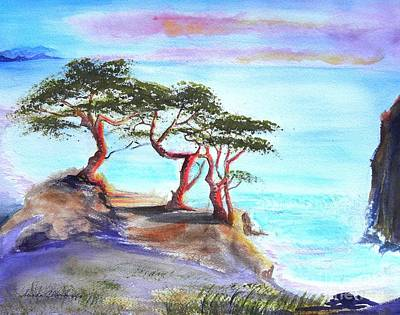 Cyprus Trees On California Coast Original by Susan  Clark