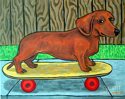Dachshund Skateboarding Art Print by Jay  Schmetz