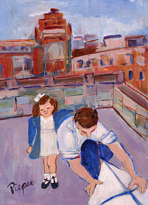 Painting - Dad And Me On Rooftop On Hoe Street Brooklyn by Elzbieta Zemaitis