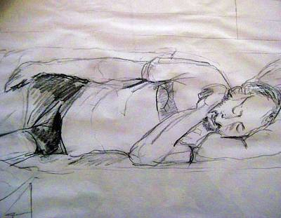 Dad Sleeping Original by Iris Gill