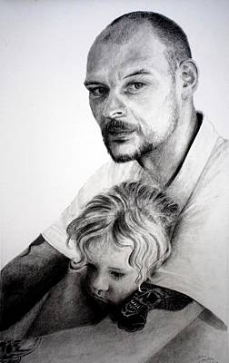 Drawing - Daddy's Girl by Lynn Hughes