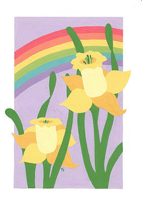 Daffodils And Rainbows II Art Print by Terry Taylor