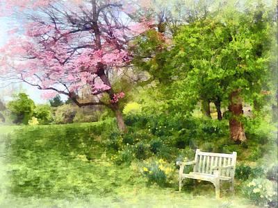 Daffodils By Bench Print by Susan Savad