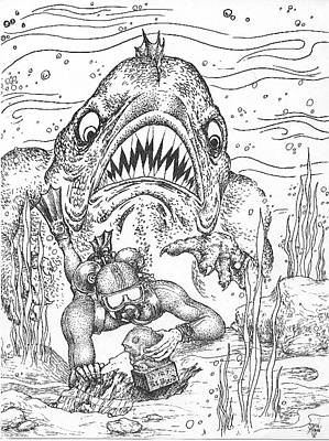 Drawing - Dagon by Dan Moran