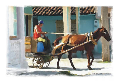 daily chores small town rural Cuba Art Print by Bob Salo