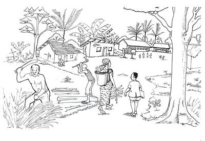 Drawing - Daily Life In South And Center Cameroon 02 by Emmanuel Baliyanga