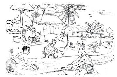 Water Activity Drawing - Daily Life In South And Center Cameroon 06 by Emmanuel Baliyanga