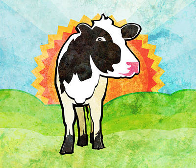 Digital Art - Dairy Cow by Mary Ogle