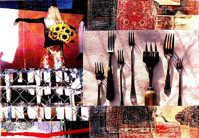 Digital Art - Daisies And Forks by Jann Sage