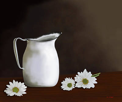 Daisies And Pitcher Art Print by Tim Stringer