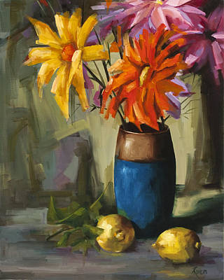 Painting - Daisies In Blue Vase by Pepe Romero
