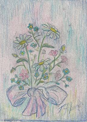 Daisy Drawing - Daisies by Ramsey A Single
