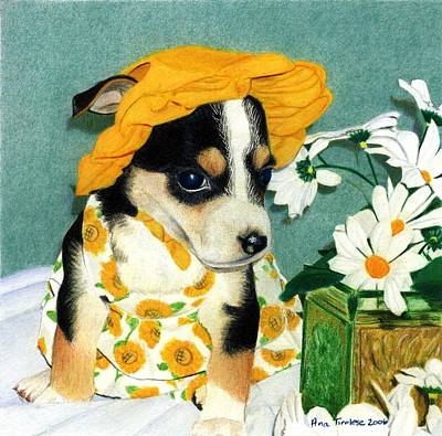 Print featuring the drawing Daisy-mae Dawg by Ana Tirolese