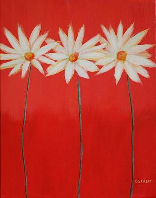 Daisy Trio - Red Art Print by Cheryl Sameit