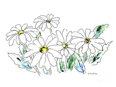 Painting - Daisy Watercolor Drawing 2 by Gordon Punt