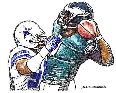 Dallas Cowboy Demarcus Ware - Philadelphia Eagles Michael Vick Art Print by Jack K