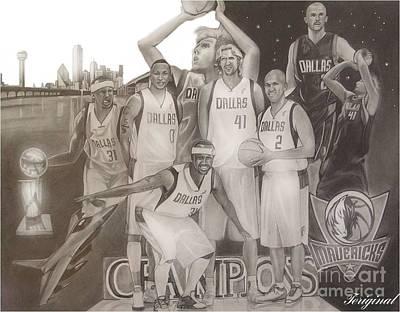 Dallas Mavericks Champs Art Print by Teriginal Washington