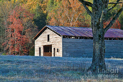 Photograph - Dan Lawson Place Barn In Autumn by Clarence Holmes