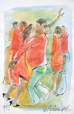 Haitian Painting - Dance Hall by Carey Chen