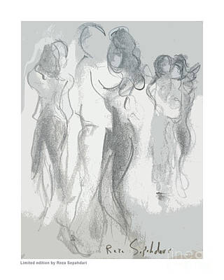 Drawing - Dance In The Night by Reza Sepahdari