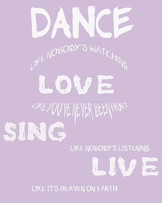 Dance Like Nobody's Watching - Lilac Art Print by Georgia Fowler