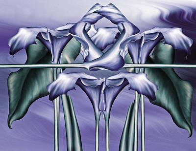 Abstract Realism Digital Art - Dance Of The Blue Calla Lilies Iv by Georgiana Romanovna