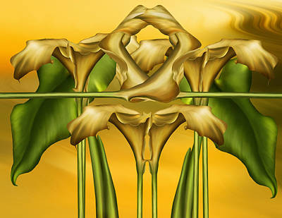 Nature Abstract Mixed Media - Dance Of The Yellow Calla Lilies II by Georgiana Romanovna