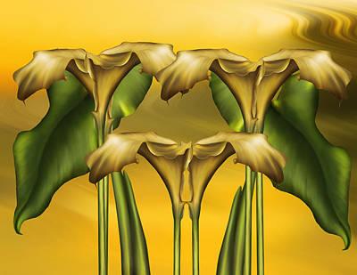 Calla Digital Art - Dance Of The Yellow Calla Lilies by Georgiana Romanovna