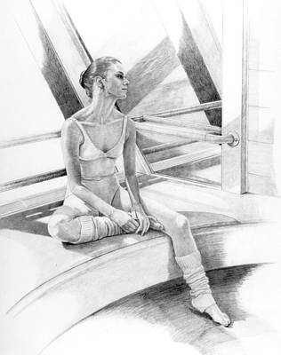 Glass Wall Drawing - Dancer At Rest by Phyllis Tarlow