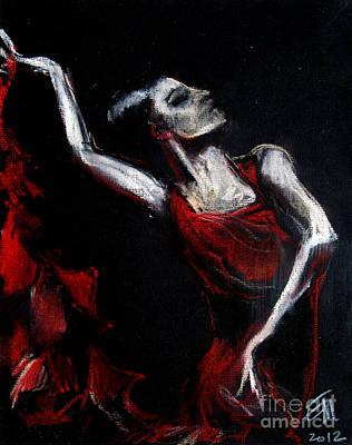 Flamenco Wall Art - Pastel - Dancer by Mona Edulesco