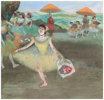 Dancer With A Bouquet Bowing Art Print by Edgar Degas