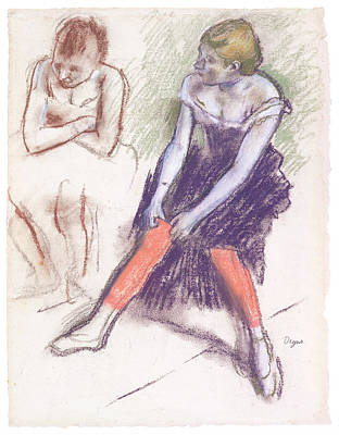 Dancer With Red Stockings Art Print by Edgar Degas