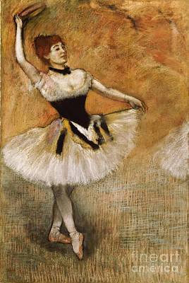 Dancer With Tambourine Print by Edgar Degas