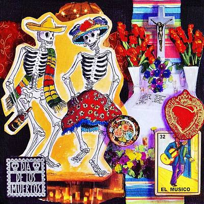 Skeleton Card Mixed Media - Dancing by Candy Mayer