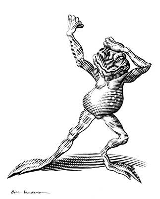 Dancing Frog, Conceptual Artwork Art Print by Bill Sanderson