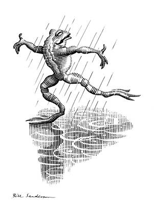 Linocut Photograph - Dancing In The Rain, Conceptual Artwork by Bill Sanderson