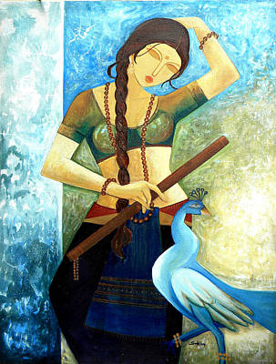 Indian Fine Art Painting - Dancing Lady by Shikha Agnihotri