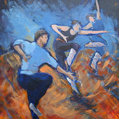 Wall Art - Painting - Dancing Lesson by Edward Abela