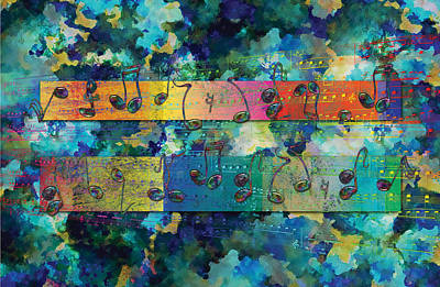 Staff Mixed Media - Dancing Notes 3 Blue by David Glotfelty