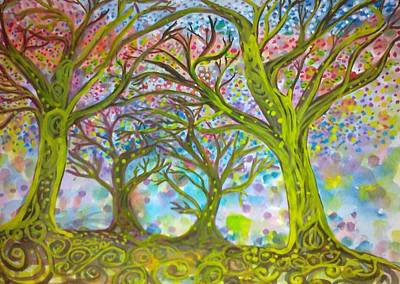 Tree Roots Painting - Dancing Trees by Oliver Wong
