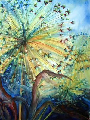Wet Into Wet Watercolor Painting - Dandelion Lights by Angela Grainger