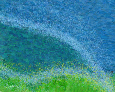 Limited Edition Digital Art - Dandelions In The Mower Digital Painting by Robin Lewis